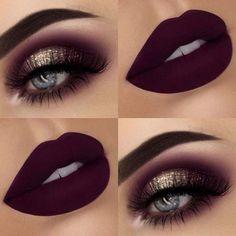 Glitter Eyes + Dark, Matte Lips #eyemakeupideas