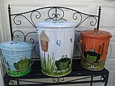 Hand Painted Trash Cans - Krysta's in The Pointe : Other