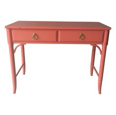 Thomasville Faux Bamboo Coral Desk on Chairish.com