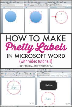 If you've ever wanted to learn to make your own pretty labels in Microsoft Word, follow along with my quick and easy video tutorial! (Screen shots provided too!)