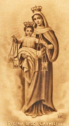 O Queen, who art the beauty of Carmel, pray for us. Indulgence of 300 days (S. Mama Mary, Mary I, Mary And Jesus, Holy Mary, Religious Images, Religious Icons, Religious Art, Blessed Mother Mary, Blessed Virgin Mary
