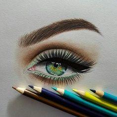 Eye, Drawing by Rene Lopez Cool Art Drawings, Pencil Art Drawings, Realistic Drawings, Art Drawings Sketches, Colorful Drawings, Eye Drawings, Pencil Sketching, Art Illustrations, Eye Drawing Tutorials