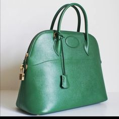 Spotted while shopping on Poshmark: Authentic Hermes Bolide 35cm Courchevel Green 1992! #poshmark #fashion #shopping #style #Hermes #Handbags