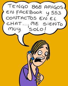 Sentirse solo rodeado de gente en Facebook #Humor