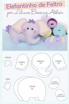 Amigas do Feltro: Amigas do feltro Atualizando moldes feltro Elephant pattern Felt Animal Patterns, Stuffed Animal Patterns, Stuffed Animals, Baby Crafts, Felt Crafts, Felt Templates, Applique Templates, Applique Patterns, Card Templates