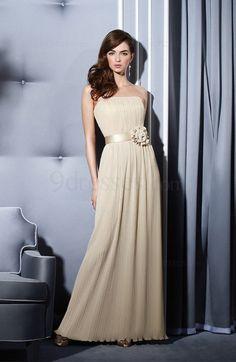 Elegant Column Flower Zipper Floor Length Sleeveless Bridesmaid Dress