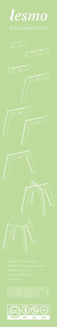 kross stool by lesmo- Free DIY CNC Furniture by Paulo Victor Santos, via Behance