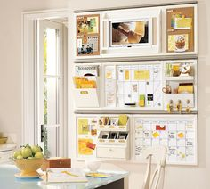 Kitchen Area Command Center. Love this idea, with slightly different look and colors.