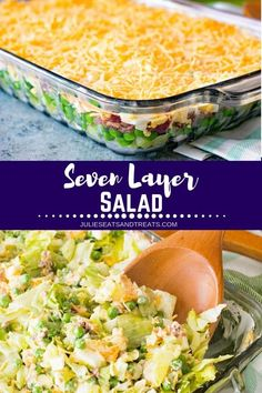 Traditional Seven Layer Salad Perfect Make Ahead Salad or Side Dish for Holidays and Potlucks! This Seven Layer Salad Recipe has Chopped Lettuce Peas Celery Onions Bacon and Cheese! Lettuce Salad Recipes, Salad Recipes For Dinner, Salads Without Lettuce, Vegan Steak, Seven Layer Salad, Make Ahead Salads, Le Diner, Healthy Salad Recipes, Vegetarian Salad