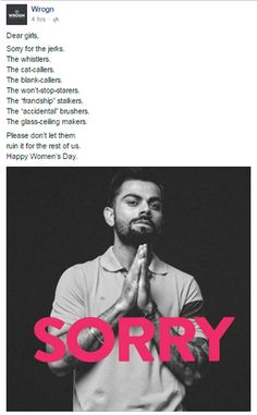 Virat Kohli is riding high on the success of India's Asia Cup win and from the looks of it, he is now on the eligible bachelors list also. Happy Woman Day, Happy Women, Virat Kohli Quotes, Respect Quotes, Attitude Quotes, Virat Kohli Instagram, Dhoni Quotes, Respect Girls, Cricket Quotes