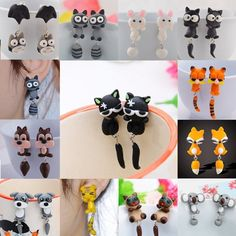 1 Pair Lovely Animal Cartoon Earrings Polymer Clay New Stud Earrings for Women | eBay