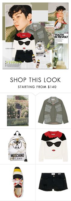 """""""Lucky Wednesday"""" by rainie-minnie ❤ liked on Polyvore featuring Hedi Slimane, Tim Coppens, Moschino, Alice + Olivia, STELLA McCARTNEY, Frame Denim and Ladurée"""