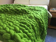 Forrest Green is the color of Summer. Chunky Knit Merino Wool Blanket – BeCozi
