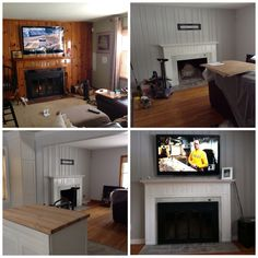 Painted over a knotty pine wood walls - love the grey and white mantel . We replaced the brick on the fireplace with white marble Knotty Pine Paneling, Knotty Pine Walls, Painting Wood Cabinets, Painting Wood Paneling, Black Dining Room Paint, White Mantel, Painted Wood Walls, Home Budget, Kiefer