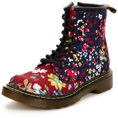 Dr Martens Delaney Floral Lace Boot ($62) ❤ liked on Polyvore featuring shoes, boots, flower pattern shoes, dr martens footwear, floral pattern shoes, dr martens shoes and lacy boots