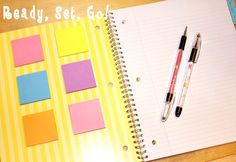 """Organization Planner-  use sticky notes and a spiral notebook, and note tabs; keep blank post-it's packs in the front of the notebook; make pages for things like finance, home, school, etc; write """"to do"""" post-its & put them on your pages: left page for 'pressing' and right side for things that can wait awhile. #organized"""