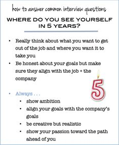 "how to answer the interview question ""where do you see yourself in 5 years?"" http://www.prepary.com/common-interview-questions-where-do-you-see-yourself-in-5-years/"