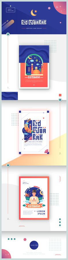 eid mubarak greeting card design with vector illustration for this 1428 H Islamic Year using simple gradient illustration with neat editorial layout and typography . Behance Logo, Behance Net, Behance Illustration, Illustration Vector, Eid Mubarak Greeting Cards, Eid Mubarak Greetings, Eid Mubarak Card, Web Layout, Layout Design