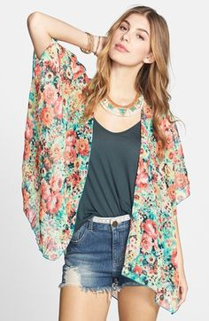 Band of Gypsies Print Chiffon Cardigan (Juniors) available at #Nordstrom