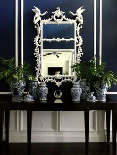 Blue and White Decorating Ideas with Hollywood Regency Furnishings | blue and white porcelain vases and ginger jars