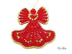 Crochet Christmas Angel Hanging Christmas ornaments Red