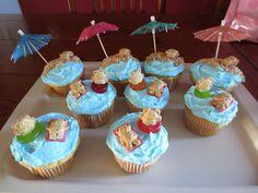 Beach themed Birthday Cupcakes the farmers: Rebecca turns Pool Cupcakes, Themed Cupcakes, Birthday Cupcakes, Football First Birthday, Jenny Cookies, Luau Birthday, Cupcake Cookies, Cake Designs, First Birthdays