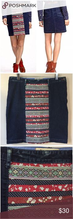 """Anthropologie Holding Horses Ribbonrow Denim Skirt • size 30 • Anthropologie Holding Horses Ribbonrow Denim Jean Skirt • Embellished with ribbon inserts on the front panel • Skirt sits below natural waist  • Two back pockets  • Side zipper with button closure • 99% cotton 1% spandex • slight stretch  • Waist 16.5"""" across (flat) (meant to wear lower on waist) • 19"""" (flat) hips • 20"""" length • Ribbon panel gives Skirt amazing interest and texture • Straight pencil  • Distress/whispering on…"""