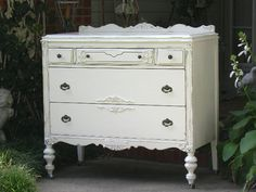 Shabby Antique DRESSER Chic White Painted Furniture