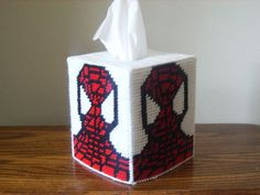 Plastic Canvas Tissue Box Covers | Spiderman Tissue Box Cover Plastic Canvas by ShanaysCreation