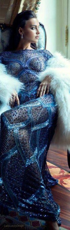 Blue Dress, white fur  #Blue.