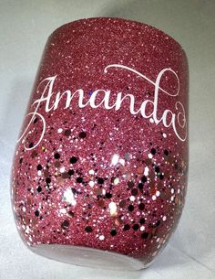 Custom Stemless Stainless Steel Wine Glass - Glitter Tumbler - Personalize - with Straw Glitter Glasses, Glitter Cups, Glitter Tumblers, Glitter Party, Glitter Shirt, Glitter Boots, Vinyl Tumblers, Custom Tumblers, Glitter Paint For Walls