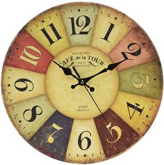 Tuscan Wall Clock Petforu Fashion 14 Inch Vintage France Paris Colourful French Country Tuscan Style Non-Ticking Silent Paris Wood Wall Clock Arabic Numbers: Home & Kitchen