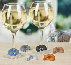 Wine Lives Kitty Wine Charms from @perpetualkid