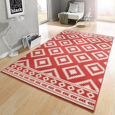 Designer Velours Teppich Ethno Koralle Creme | 102411 Teppiche Design Teppiche