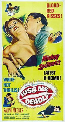Kiss Me Deadly 1955 classic film noir drama produced and directed by Robert Aldrich starring Ralph Meeker screenplay by A.I. Bezzerides, based on the Mickey Spillane Mike Hammer mystery novel Kiss Me, Deadly often considered a classic of the noir genre marked debuts of Cloris Leachman and Maxine Cooper.  Ralph Meeker plays Mike Hammer, a Los Angeles private eye almost as brutal and corrupt as the crooks he chases.