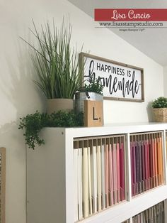 Ikea Kallax units are perfect for cardstock and designer paper storage. Video tour and lots of details to create your custom craft room. Ikea Craft Storage, Craft Organisation, Ikea Craft Room, Small Craft Rooms, Cricut Craft Room, Paper Storage, Stamp Storage, Cube Storage, Diy Crafts Desk