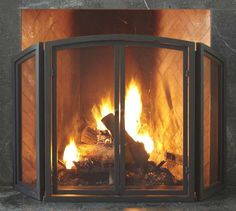 PB Classic Fireplace Triple Screen Fireplace Collection | Pottery Barn