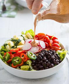 Holy Moly Spicy Chipotle Dressing is a no-oil vegan chipotle dressing that will spice up any salad. used about 1 T chili powder, apporx 2 T nutri yeast and a few slashes of beer and not tomato Whole Food Recipes, Cooking Recipes, Smoker Recipes, Rib Recipes, Cooking Tips, Chipotle Dressing, Vegan Chipotle, Vegetarian Recipes, Healthy Recipes