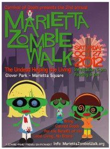 Marietta Zombie Walk on October 27, 2012...love this idea as a fundraiser!