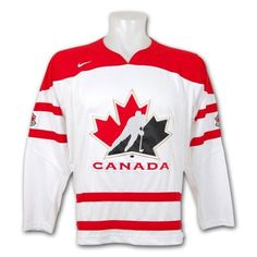 Team Canada IIHF Swift Replica White Hockey Jersey Size L by Nike. $129.00. This Official Nike Canadian National Hockey Team Swift Replica Jersey features: - 100% Polyester new Swift mesh jersey material offers softer feel for added comfort - Large twill-embroidered front Team Canada crest sewn to jersey - Twill-embroidered golden vintage maple leaf crests sewn to jersey arms - Nike swoosh logo embroidered to upper right chest