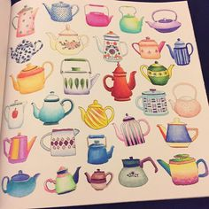 """all the #teapots are colored! #secretparis #coloringbook by #zoedelascases #prismacolor #picoftheday"""