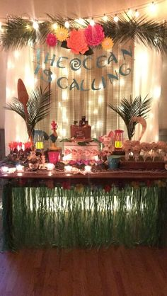 Moana Birthday Video, 14 & Hudson restaurant and events, piermont, new york, disney party, dessert table, lua, party, backdrop, the ocean is calling, desserts, sweets, wedding, baby shower, bridal shower, paula clemente woods