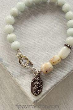 Amazonite and Peruvian Opal Mermaid Bracelet - The Love Bravely Bracelet-bracelet, strung, amazonite, peruvian opal, love bravely, mermaid, sterling silver, summer, tippy stockton