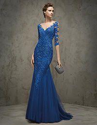 Pronovias > FRAENZE -  Vestido de festa em renda, azul