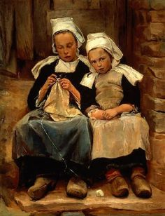 Enella Benedict (American, - Brittany Children - 1892 - Work exhibited in the 1893 Columbian World's Exposition, National Museum of Women in the Arts Pics Art, Art Pictures, Photos, Illustrations, Illustration Art, Knit Art, Sewing Art, Dutch Artists, Paintings I Love