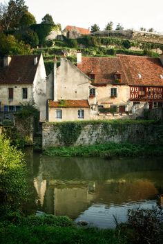 By the river Armancon in Semur-en-Auxois Framce