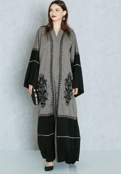 Embroirdered and block panelled abaya by Haya's Closet