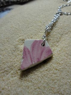 Sea glass pottery shard necklace with pink by atreasurefromthesea, $18.99