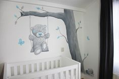 Me to You met Blue Nose Friends molletje bij een boom gemaakt door BIM Muurschildering.  mural wall painting