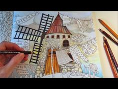 Blue Bird's Laundry (Part 1)   ROMANTIC COUNTRY Coloring Book   Colored Pencils Coloring - YouTube